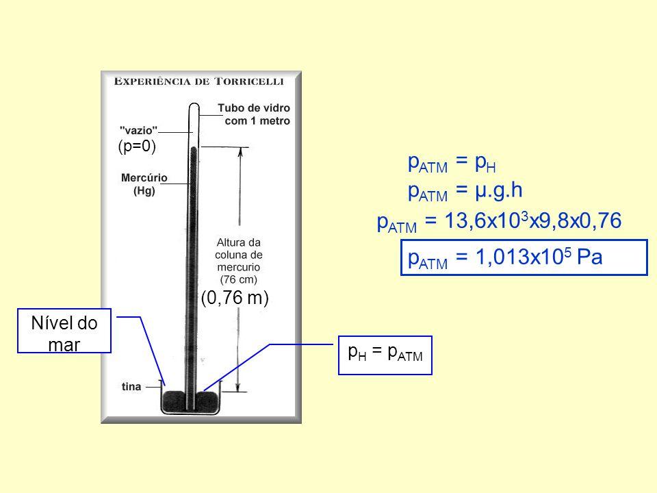 p ATM = p H p ATM = µ.g.h p ATM = 13,6x10 3 x9,8x0,76 p ATM = 1,013x10 5 Pa (0,76 m) Nível do mar (p=0) p H = p ATM