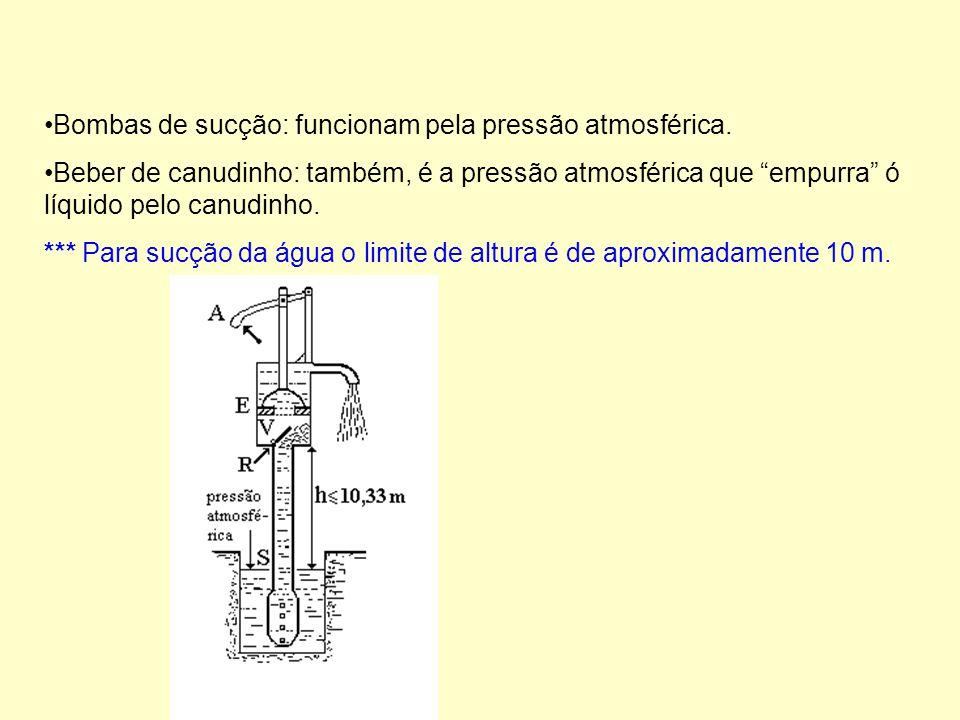 Bombas de sucção: funcionam pela pressão atmosférica.