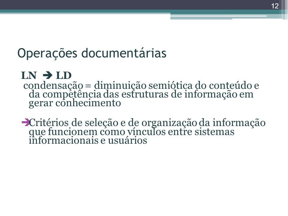 Operações documentárias LN  LD condensação = diminuição semiótica do conteúdo e da competência das estruturas de informação em gerar conhecimento  Critérios de seleção e de organização da informação que funcionem como vínculos entre sistemas informacionais e usuários 12
