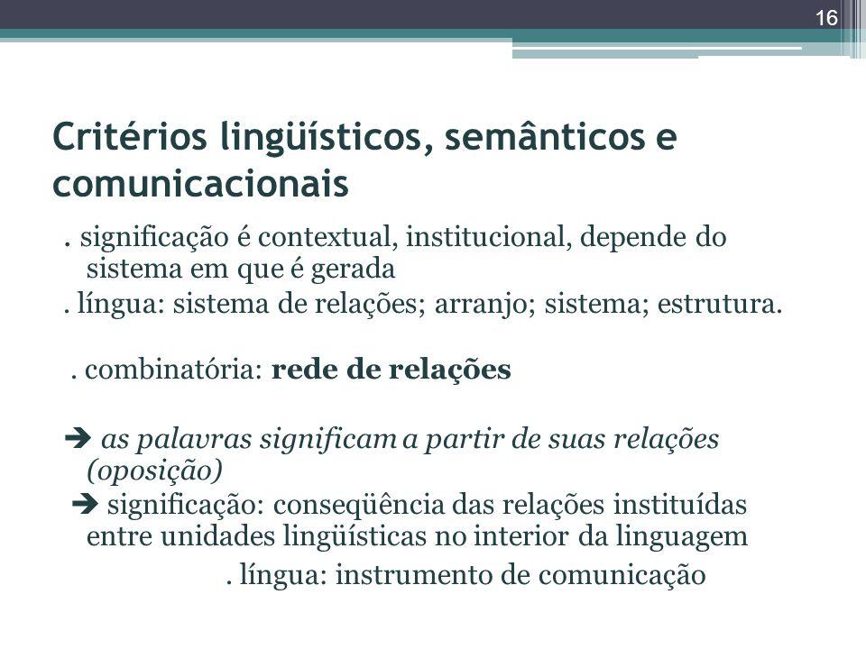 Critérios lingüísticos, semânticos e comunicacionais. significação é contextual, institucional, depende do sistema em que é gerada. língua: sistema de