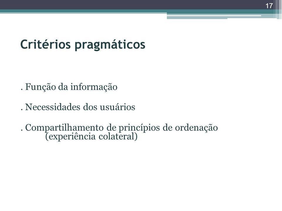 Critérios pragmáticos. Função da informação. Necessidades dos usuários. Compartilhamento de princípios de ordenação (experiência colateral) 17