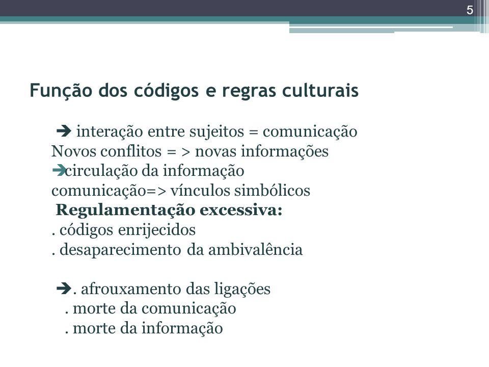 Função dos códigos e regras culturais  interação entre sujeitos = comunicação Novos conflitos = > novas informações  circulação da informação comunicação=> vínculos simbólicos Regulamentação excessiva:.