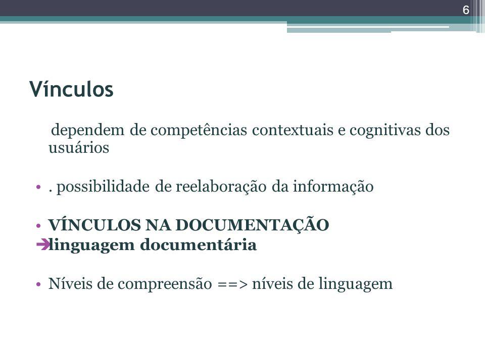 Vínculos dependem de competências contextuais e cognitivas dos usuários. possibilidade de reelaboração da informação VÍNCULOS NA DOCUMENTAÇÃO  lingua