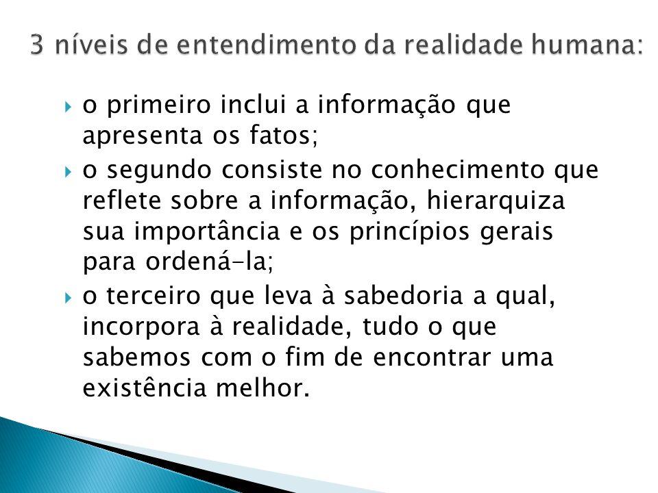  o primeiro inclui a informação que apresenta os fatos;  o segundo consiste no conhecimento que reflete sobre a informação, hierarquiza sua importân