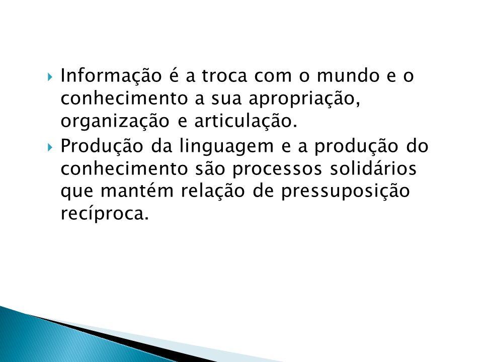  Informação é a troca com o mundo e o conhecimento a sua apropriação, organização e articulação.  Produção da linguagem e a produção do conhecimento