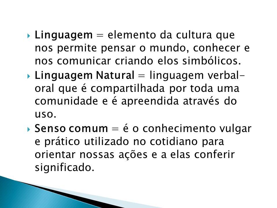  Linguagem = elemento da cultura que nos permite pensar o mundo, conhecer e nos comunicar criando elos simbólicos.  Linguagem Natural = linguagem ve