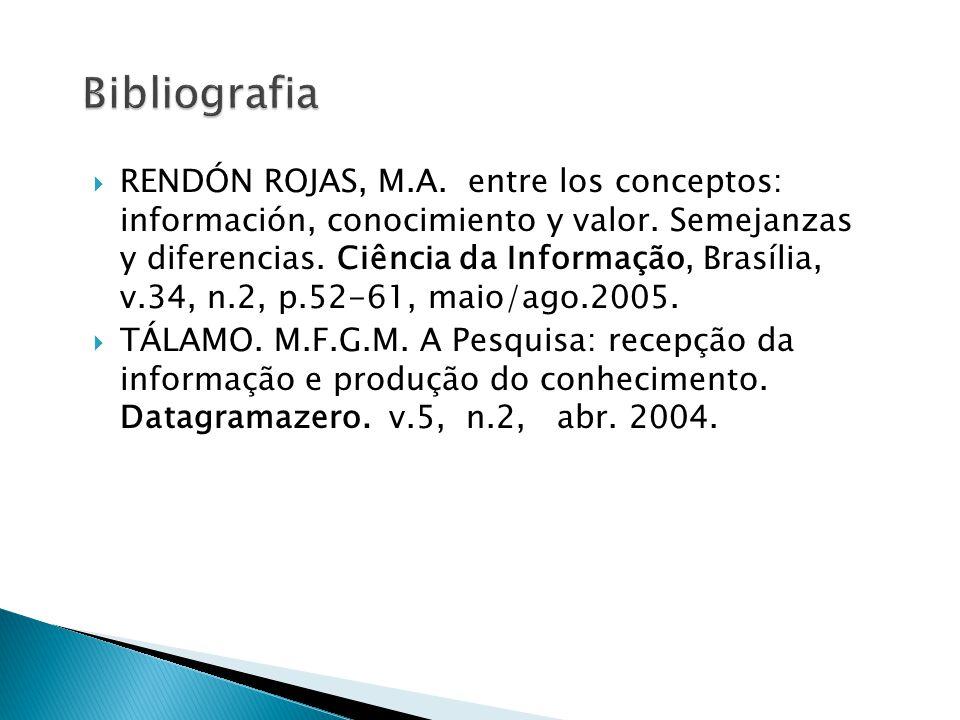  RENDÓN ROJAS, M.A. entre los conceptos: información, conocimiento y valor. Semejanzas y diferencias. Ciência da Informação, Brasília, v.34, n.2, p.5