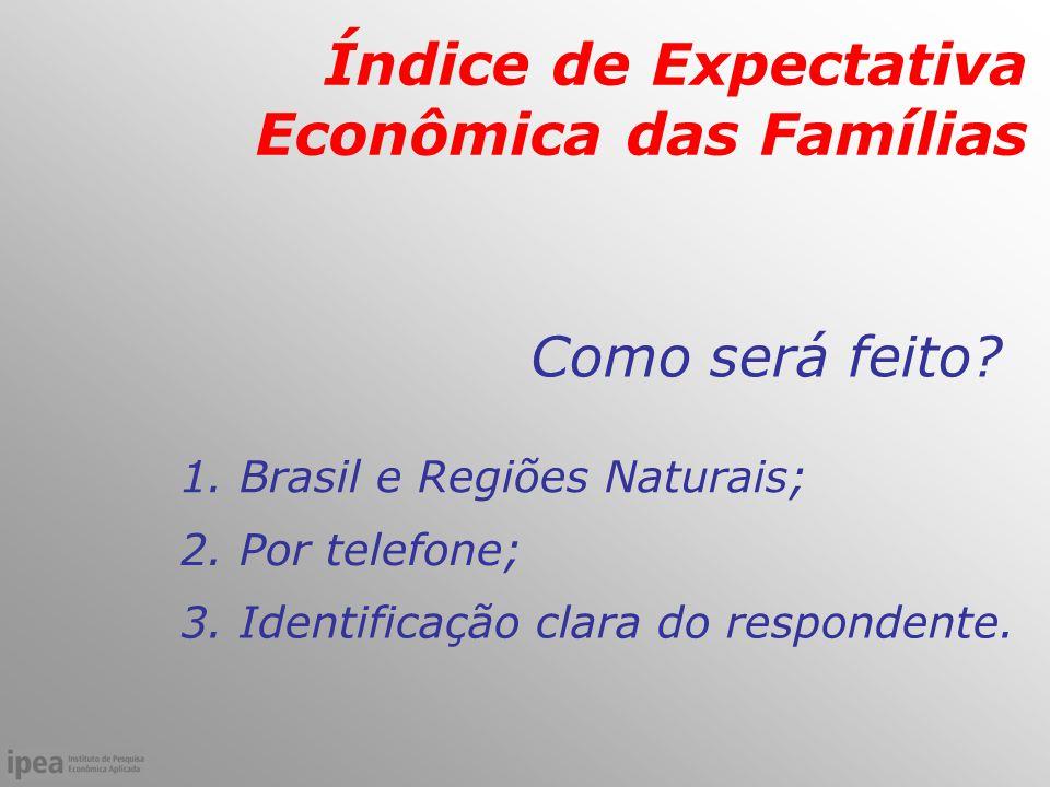 Como será feito. Índice de Expectativa Econômica das Famílias 1.