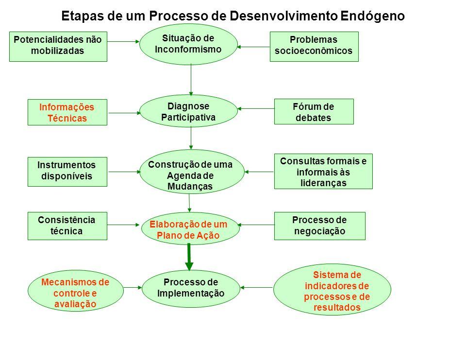 Potencialidades não mobilizadas Problemas socioeconômicos Situação de Inconformismo Diagnose Participativa Construção de uma Agenda de Mudanças Processo de Implementação Elaboração de um Plano de Ação Informações Técnicas Instrumentos disponíveis Consistência técnica Fórum de debates Consultas formais e informais às lideranças Processo de negociação Mecanismos de controle e avaliação Sistema de indicadores de processos e de resultados Etapas de um Processo de Desenvolvimento Endógeno