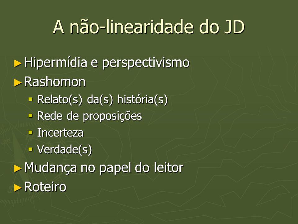 A não-linearidade do JD ► Hipermídia e perspectivismo ► Rashomon  Relato(s) da(s) história(s)  Rede de proposições  Incerteza  Verdade(s) ► Mudanç