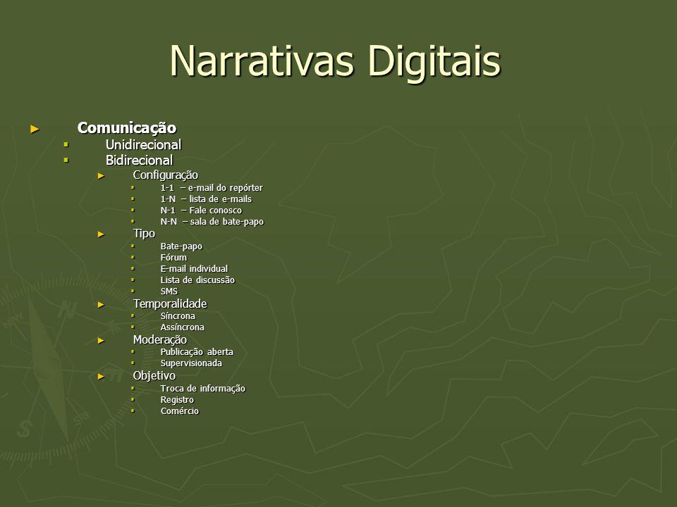 Narrativas Digitais ► Comunicação  Unidirecional  Bidirecional ► Configuração  1-1 – e-mail do repórter  1-N – lista de e-mails  N-1 – Fale conos