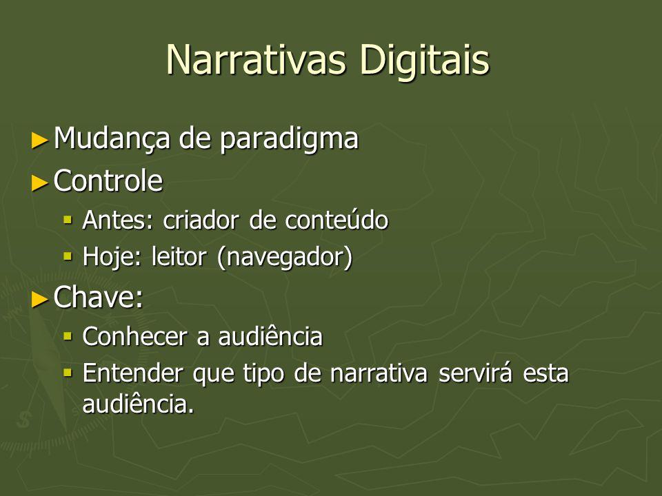 Narrativas Digitais ► Mudança de paradigma ► Controle  Antes: criador de conteúdo  Hoje: leitor (navegador) ► Chave:  Conhecer a audiência  Entend