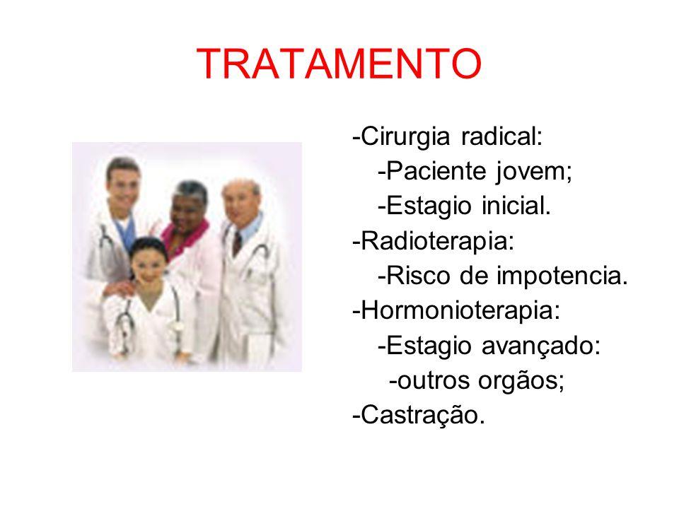 TRATAMENTO -Cirurgia radical: -Paciente jovem; -Estagio inicial. -Radioterapia: -Risco de impotencia. -Hormonioterapia: -Estagio avançado: -outros org