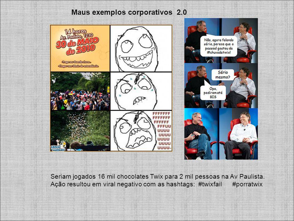 Maus exemplos corporativos 2.0 Seriam jogados 16 mil chocolates Twix para 2 mil pessoas na Av Paulista.