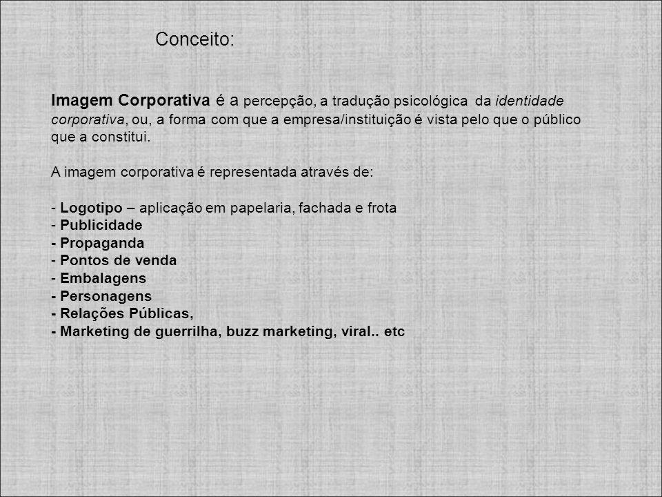 Imagem Corporativa é a percepção, a tradução psicológica da identidade corporativa, ou, a forma com que a empresa/instituição é vista pelo que o público que a constitui.