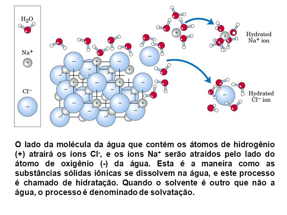 O lado da molécula da água que contém os átomos de hidrogênio (+) atrairá os íons Cl -, e os íons Na + serão atraídos pelo lado do átomo de oxigênio (