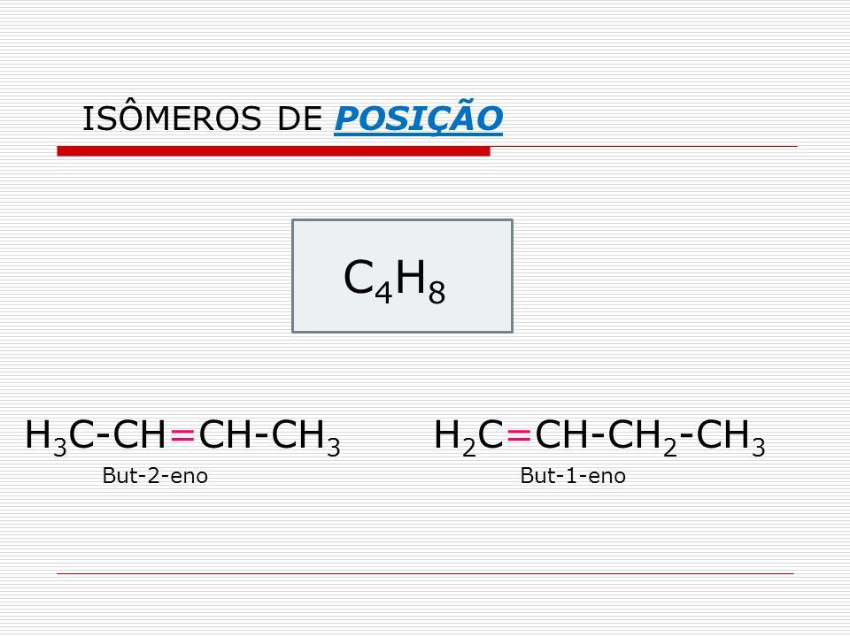 C 4 H 8 H 3 C-CH=CH-CH 3 H 2 C=CH-CH 2 -CH 3 But-2-enoBut-1-eno ISÔMEROS DE POSIÇÃO