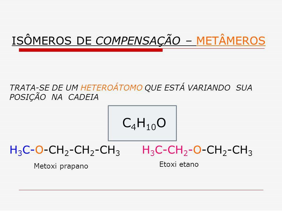 TRATA-SE DE UM HETEROÁTOMO QUE ESTÁ VARIANDO SUA POSIÇÃO NA CADEIA C 4 H 10 O H 3 C-O-CH 2 -CH 2 -CH 3 H 3 C-CH 2 -O-CH 2 -CH 3 Metoxi prapano Etoxi e