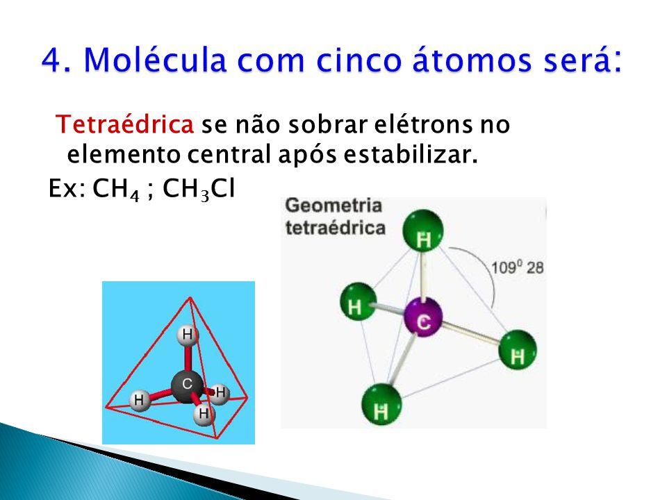 Tetraédrica se não sobrar elétrons no elemento central após estabilizar. Ex: CH 4 ; CH 3 Cl