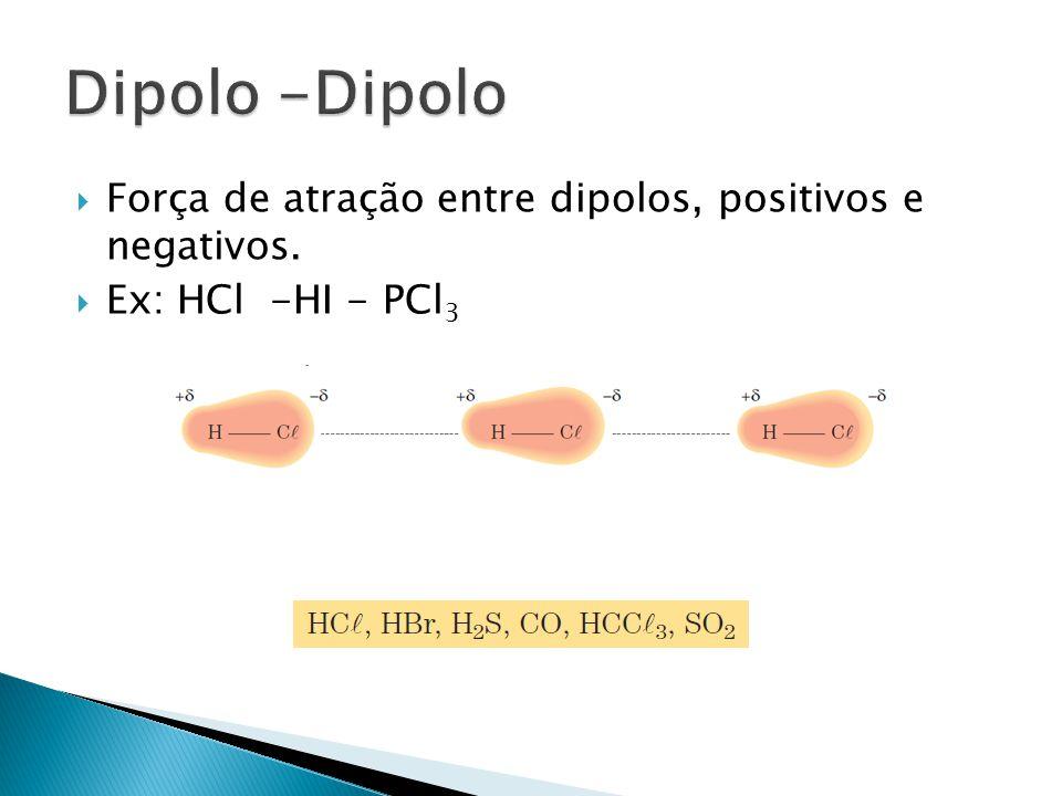  Força de atração entre dipolos, positivos e negativos.  Ex: HCl -HI - PCl 3