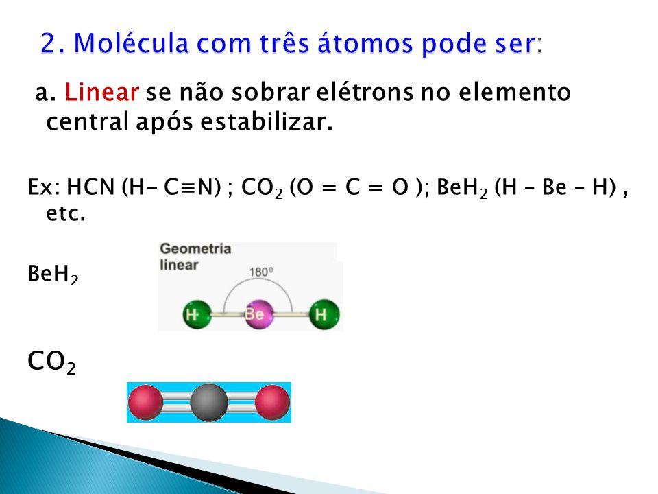 a. Linear se não sobrar elétrons no elemento central após estabilizar. Ex: HCN (H- C≡N) ; CO 2 (O = C = O ); BeH 2 (H – Be – H), etc. BeH 2 CO 2