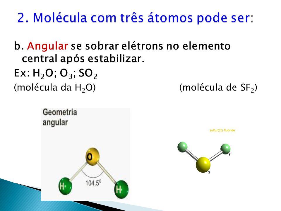b. Angular se sobrar elétrons no elemento central após estabilizar. Ex: H 2 O; O 3 ; SO 2 (molécula da H 2 O)(molécula de SF 2 )