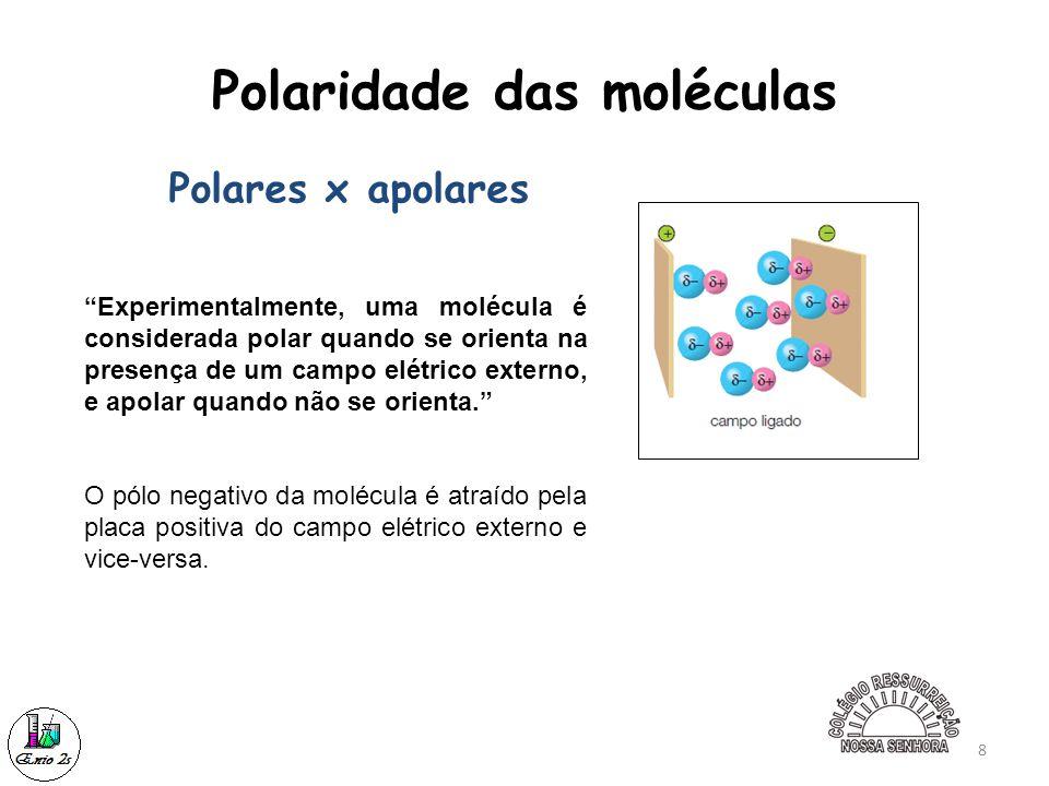 """8 Polaridade das moléculas """"Experimentalmente, uma molécula é considerada polar quando se orienta na presença de um campo elétrico externo, e apolar q"""
