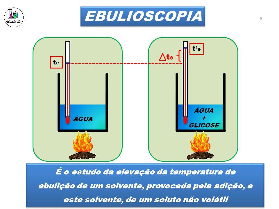 EBULIOSCOPIA ÁGUA + GLICOSE tete t' e tete 5 É o estudo da elevação da temperatura de ebulição de um solvente, provocada pela adição, a este solvente, de um soluto não volátil É o estudo da elevação da temperatura de ebulição de um solvente, provocada pela adição, a este solvente, de um soluto não volátil