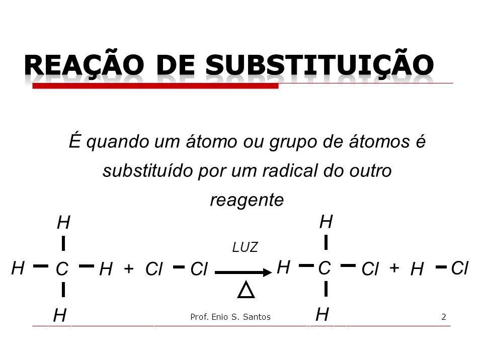 C LUZ Cl H H + H H C H H + H H É quando um átomo ou grupo de átomos é substituído por um radical do outro reagente 2Prof.