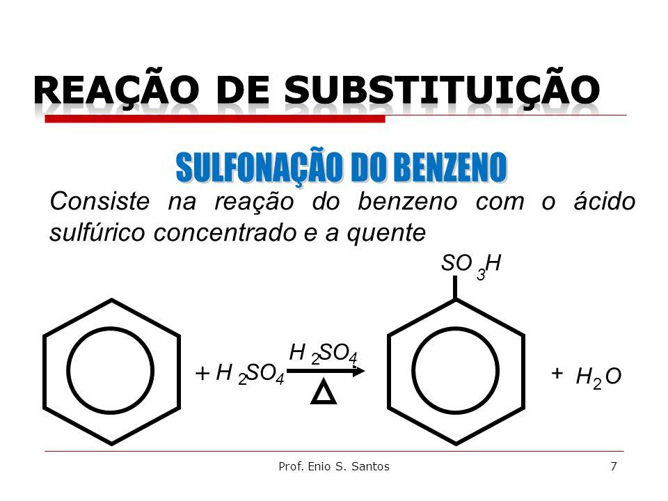 + + H SO 2 2 4 4 Consiste na reação do benzeno com o ácido sulfúrico concentrado e a quente SO H 3 7Prof.