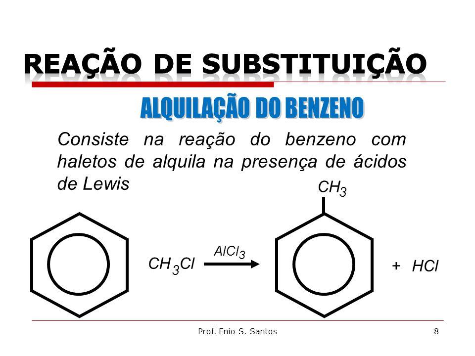 + HCl+ CH Cl 3 3 AlCl CH 3 Consiste na reação do benzeno com haletos de alquila na presença de ácidos de Lewis 8Prof.