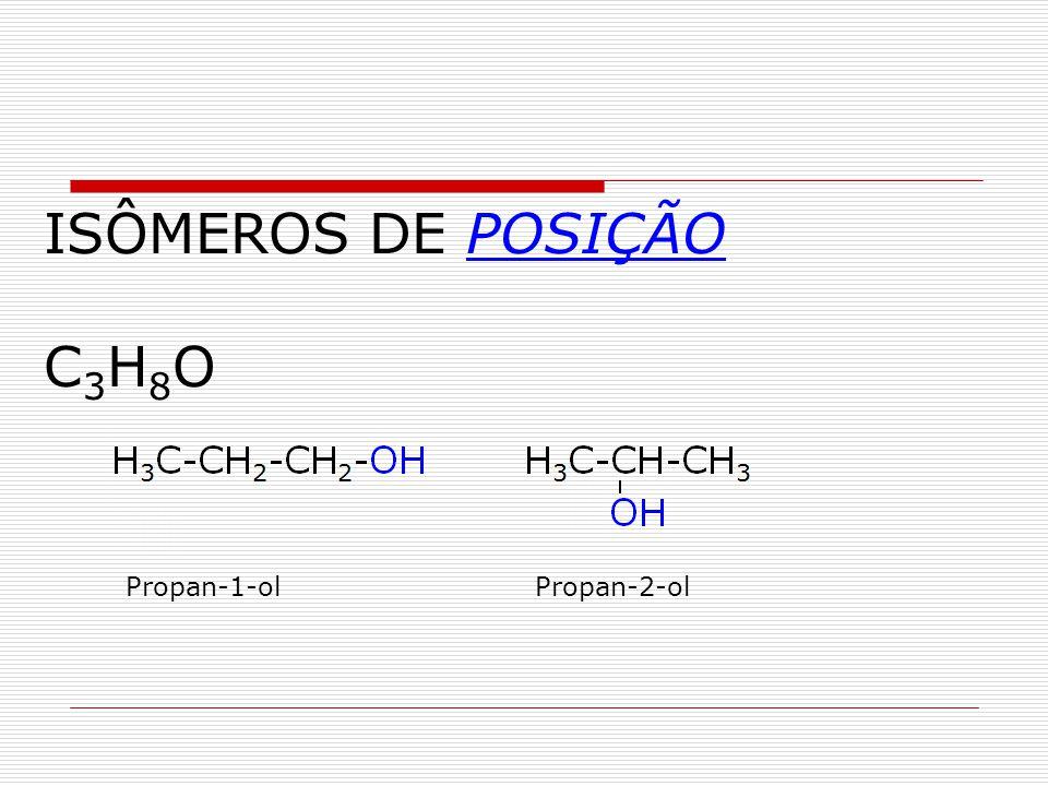 ISÔMEROS DE POSIÇÃO C 3 H 8 O Propan-1-olPropan-2-ol