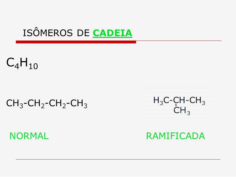 C 4 H 10 CH 3 -CH 2 -CH 2 -CH 3 NORMAL RAMIFICADA ISÔMEROS DE CADEIA