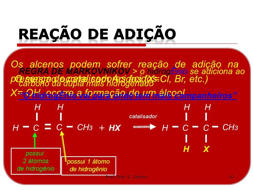 Os alcenos podem sofrer reação de adição na presença de catalisadores ácidos. X= OH, ocorre a formação de um álcool. C CH 3 H C catalisador HXH + H CH