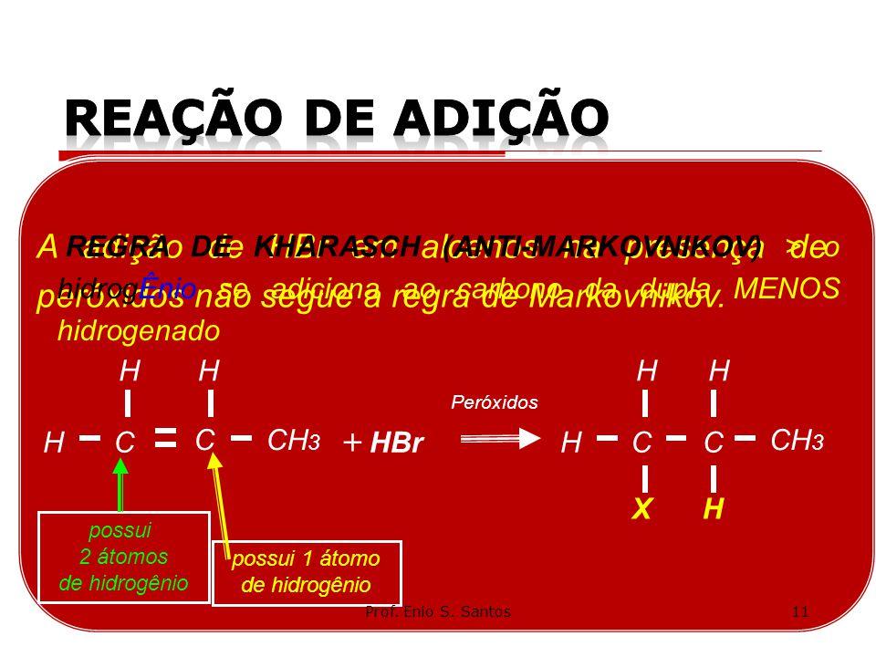 A adição de HBr em alcenos na presença de peróxidos não segue a regra de Markovnikov. C CH 3 H C Peróxidos HBrH + H CH H H C H X possui 2 átomos de hi