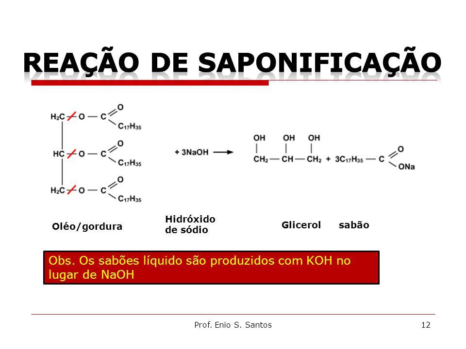 Prof. Enio S. Santos12 Oléo/gordura Hidróxido de sódio Glicerol sabão Obs. Os sabões líquido são produzidos com KOH no lugar de NaOH