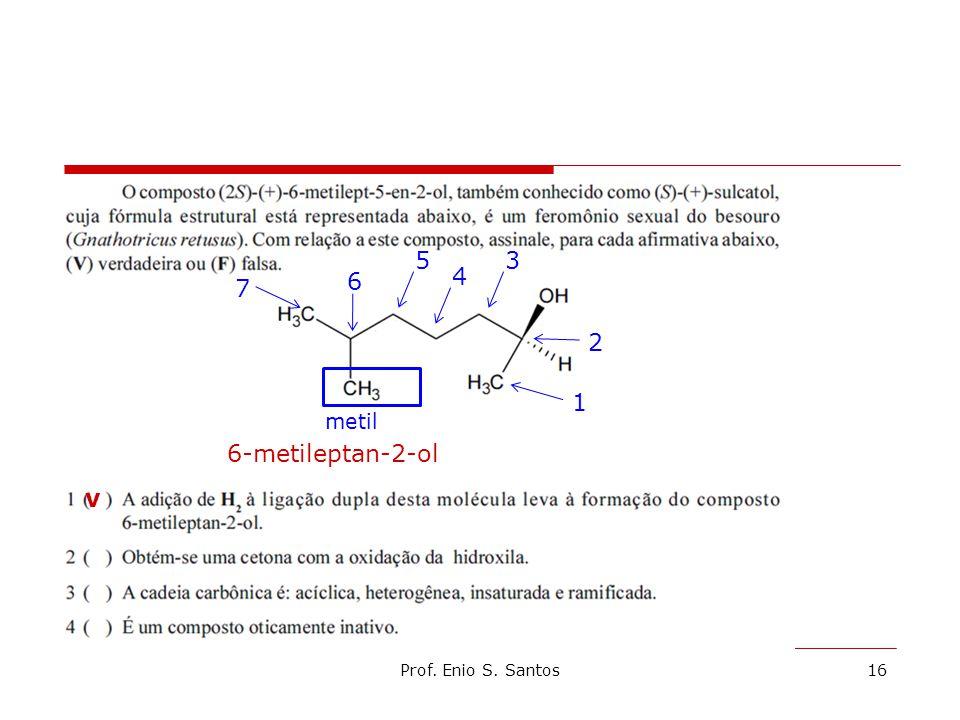 Prof. Enio S. Santos16 1 2 3 4 5 6 7 metil 6-metileptan-2-ol v