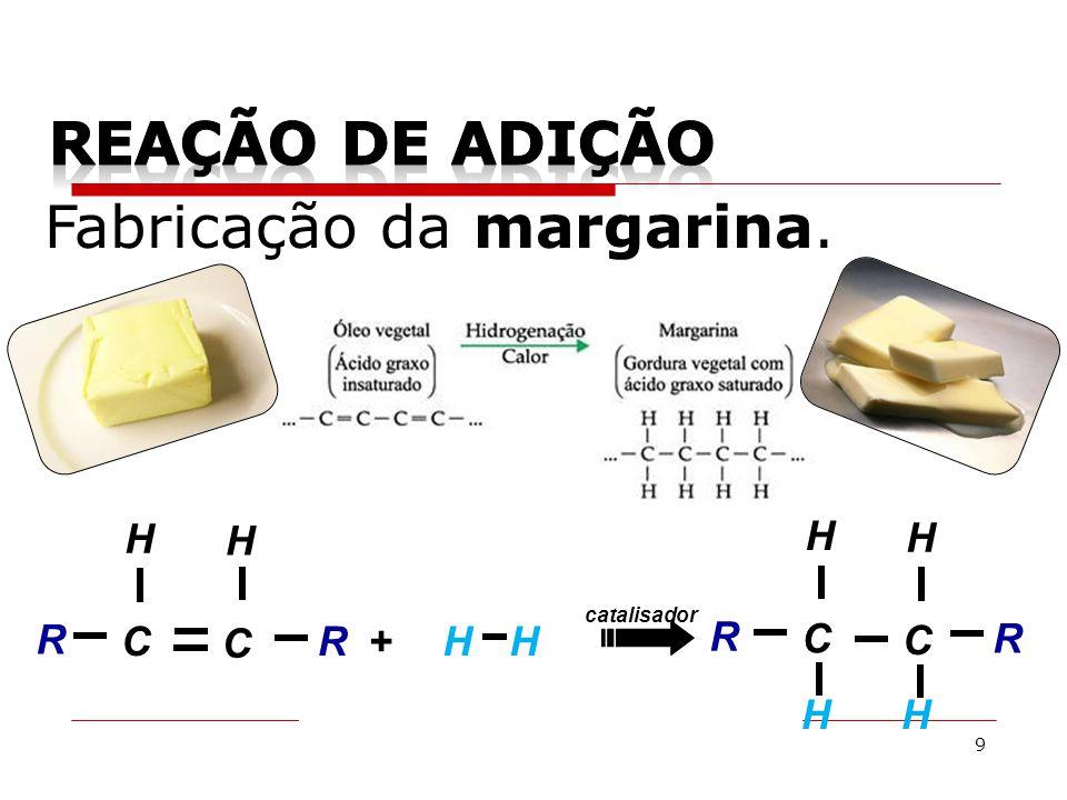9 Fabricação da margarina. CHH R + H R catalisador C H C R H R C H HH