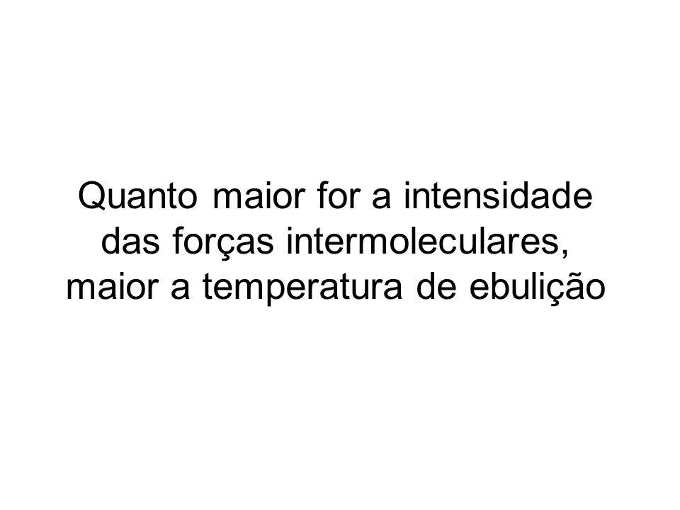 Quanto maior for a intensidade das forças intermoleculares, maior a temperatura de ebulição
