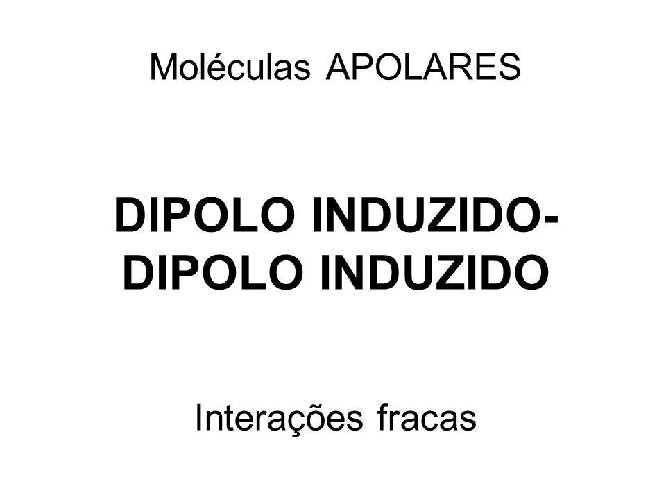 Moléculas APOLARES DIPOLO INDUZIDO- DIPOLO INDUZIDO Interações fracas