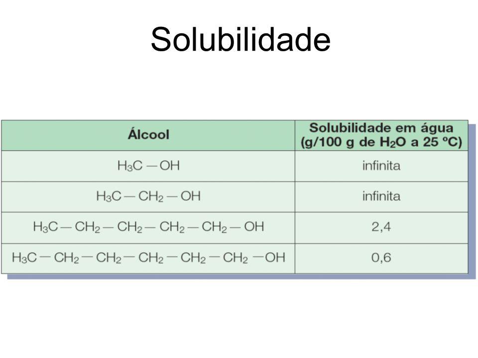 Solubilidade - exemplo Utilizando essas propriedades, associe cada um dos líquidos às substâncias: n-butanol, C 4 H 9 OH ; n-pentano, C 5 H 12 ; e éter etílico, C 4 H 12 O.