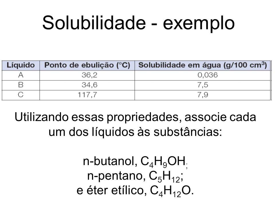 Solubilidade - exemplo Utilizando essas propriedades, associe cada um dos líquidos às substâncias: n-butanol, C 4 H 9 OH ; n-pentano, C 5 H 12 ; e éte