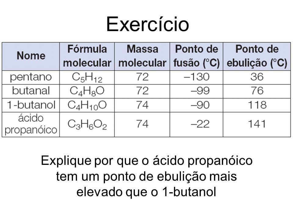 Exercício Explique por que o ácido propanóico tem um ponto de ebulição mais elevado que o 1-butanol