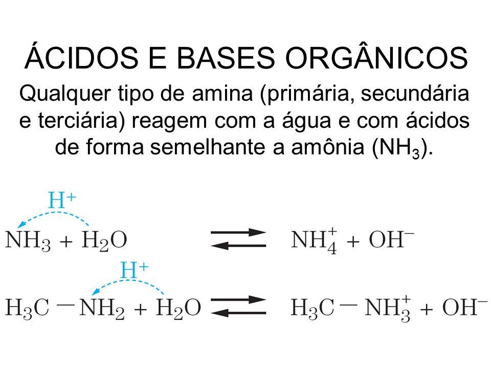 Qualquer tipo de amina (primária, secundária e terciária) reagem com a água e com ácidos de forma semelhante a amônia (NH 3 ). ÁCIDOS E BASES ORGÂNICO