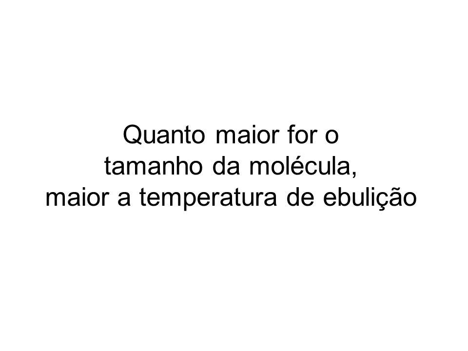 Quanto maior for o tamanho da molécula, maior a temperatura de ebulição