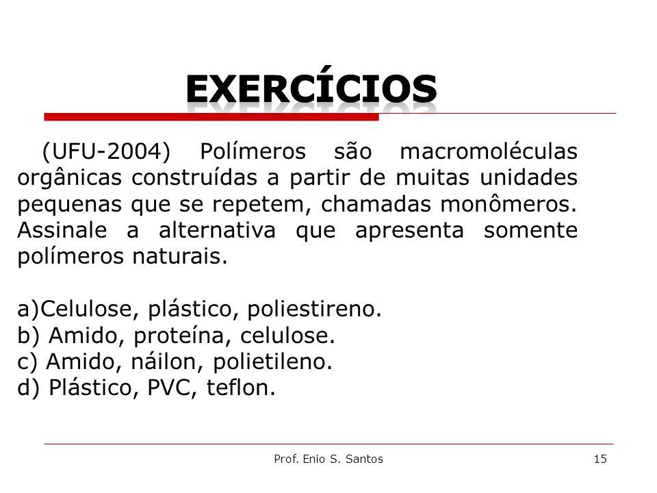 Prof. Enio S. Santos15 (UFU-2004) Polímeros são macromoléculas orgânicas construídas a partir de muitas unidades pequenas que se repetem, chamadas mon