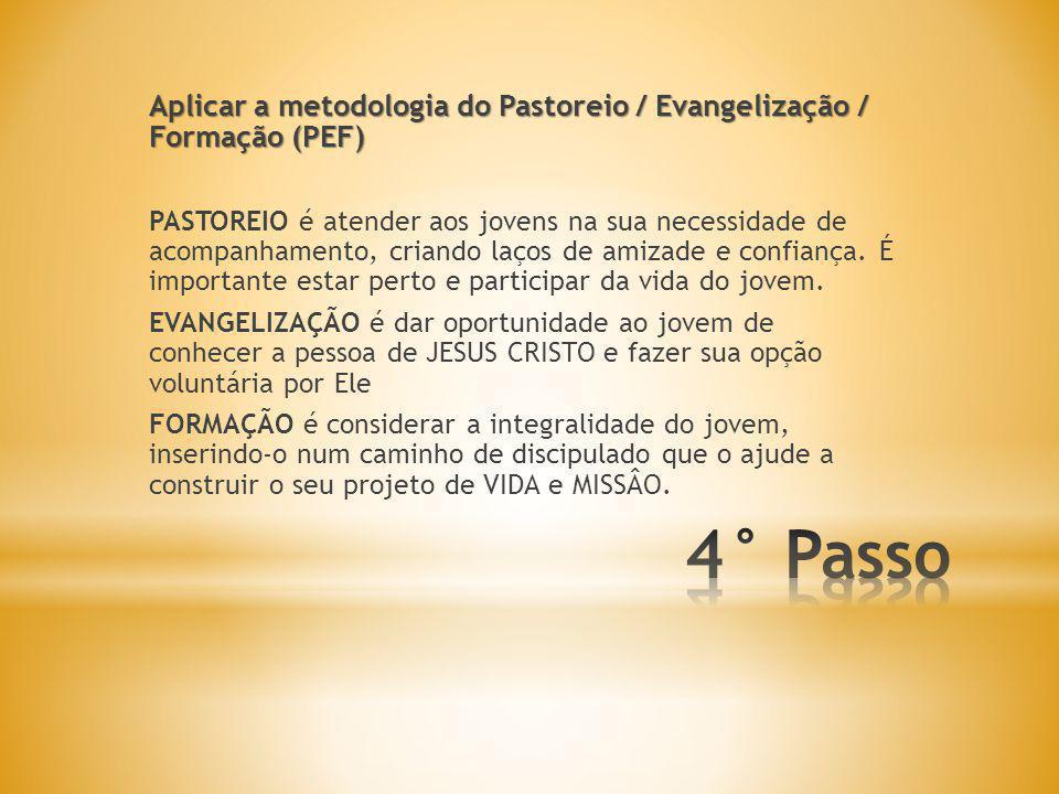Aplicar a metodologia do Pastoreio / Evangelização / Formação (PEF) PASTOREIO é atender aos jovens na sua necessidade de acompanhamento, criando laços de amizade e confiança.