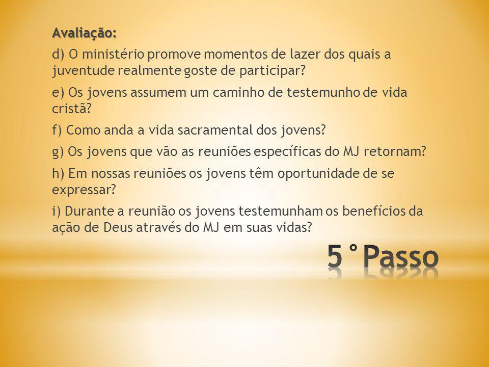 Avaliação: d) O ministério promove momentos de lazer dos quais a juventude realmente goste de participar.