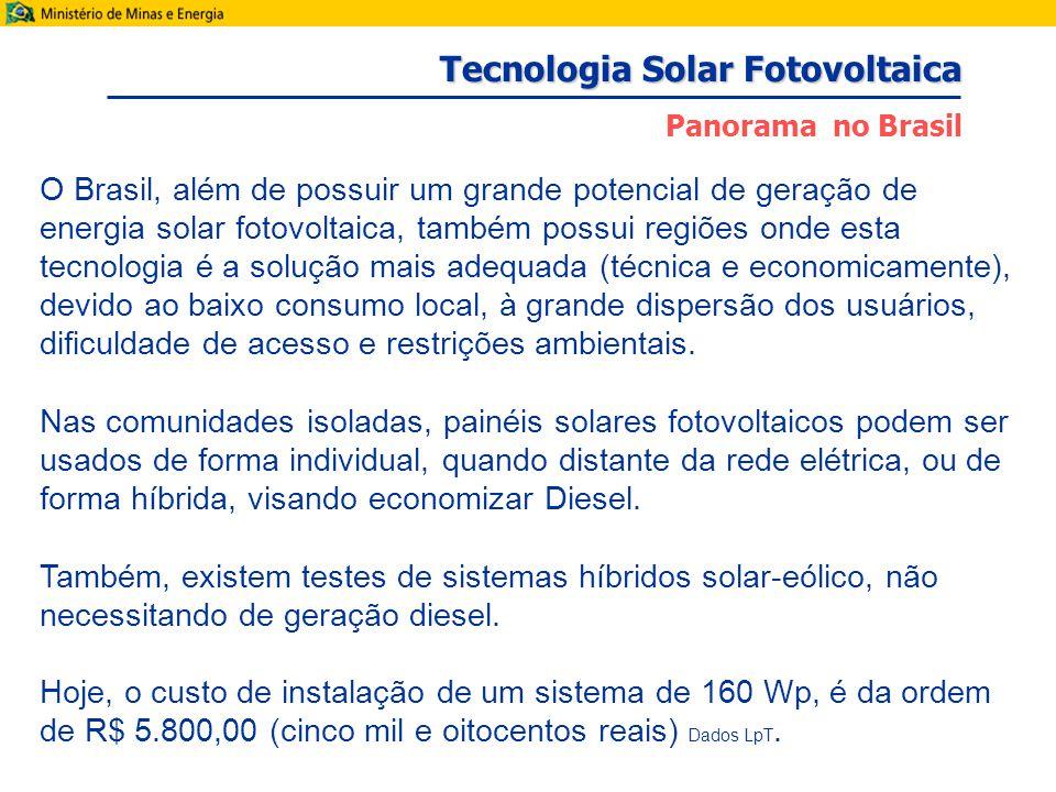 O Brasil, além de possuir um grande potencial de geração de energia solar fotovoltaica, também possui regiões onde esta tecnologia é a solução mais adequada (técnica e economicamente), devido ao baixo consumo local, à grande dispersão dos usuários, dificuldade de acesso e restrições ambientais.