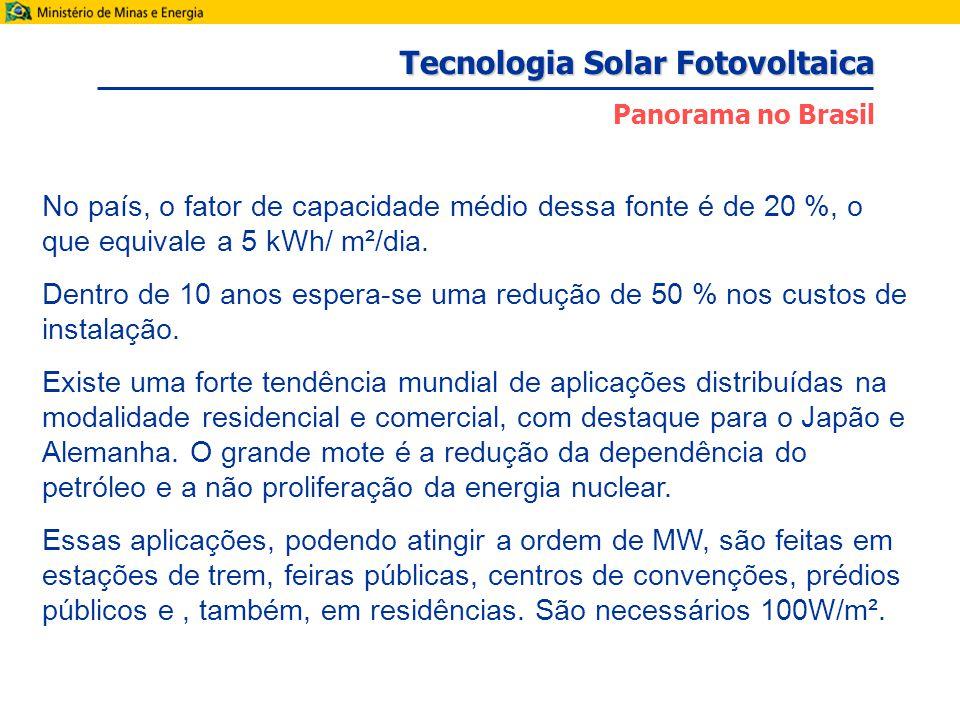 No país, o fator de capacidade médio dessa fonte é de 20 %, o que equivale a 5 kWh/ m²/dia.